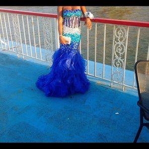 Dresses & Skirts - Blue mermaid rhinestone prom gown